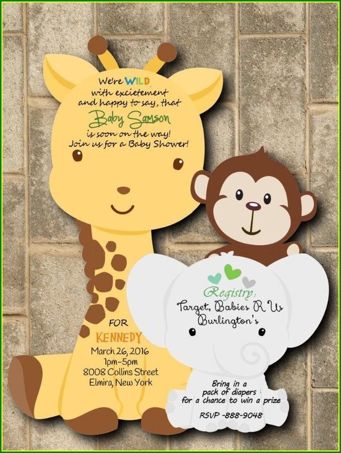 Baby Boy Giraffe Invitations