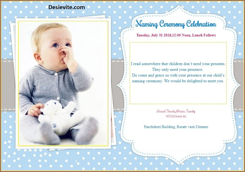 Baby Boy Hindu Cradle Ceremony Invitation