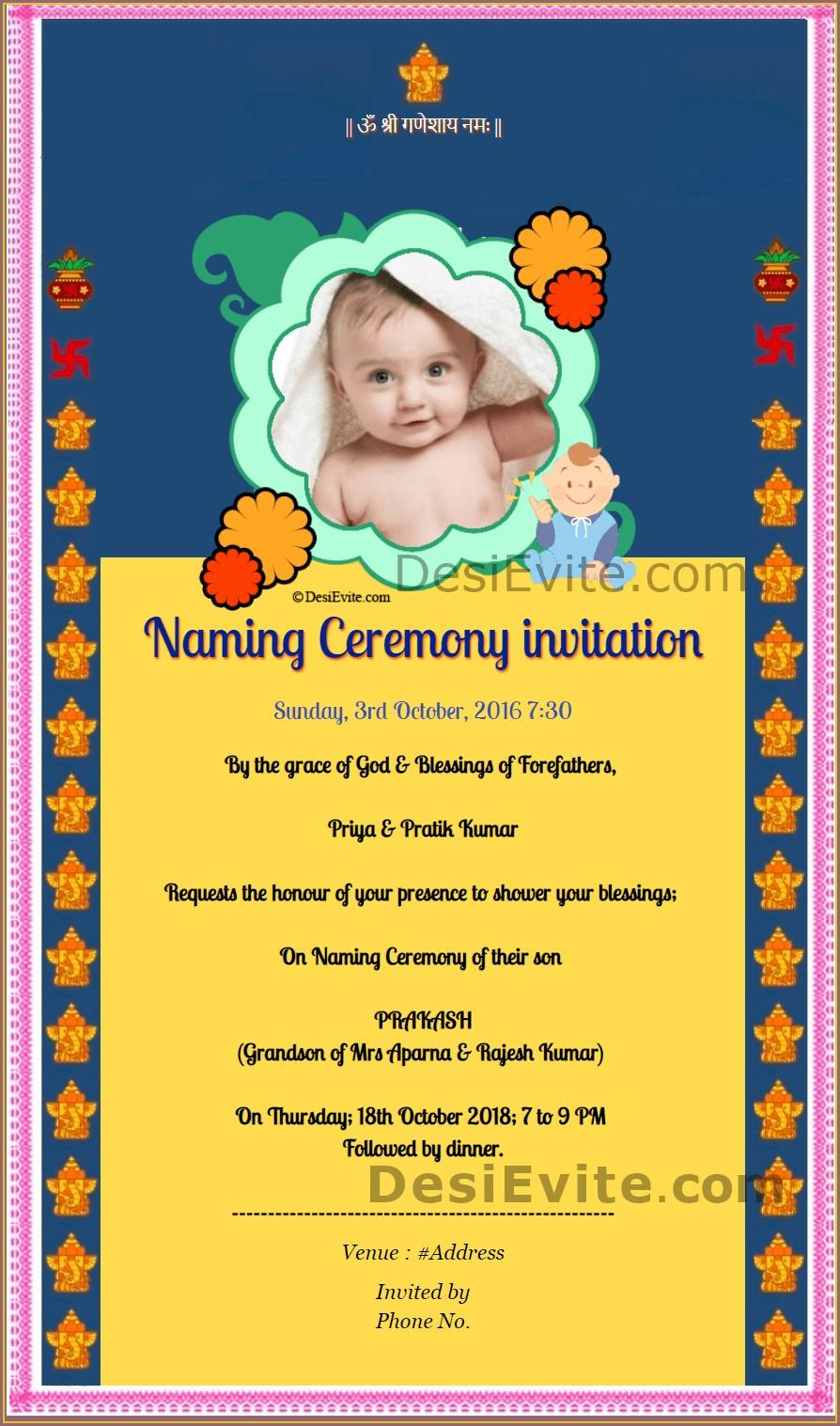 Baby Boy Name Ceremony Invitation Card In Marathi
