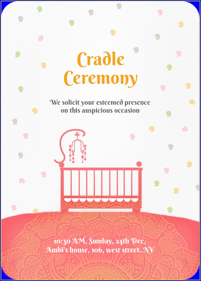 Baby Boy Naming Ceremony Invitation Card Online