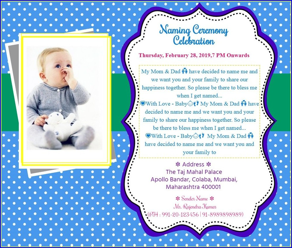 Baby Boy Naming Ceremony Invitation Card