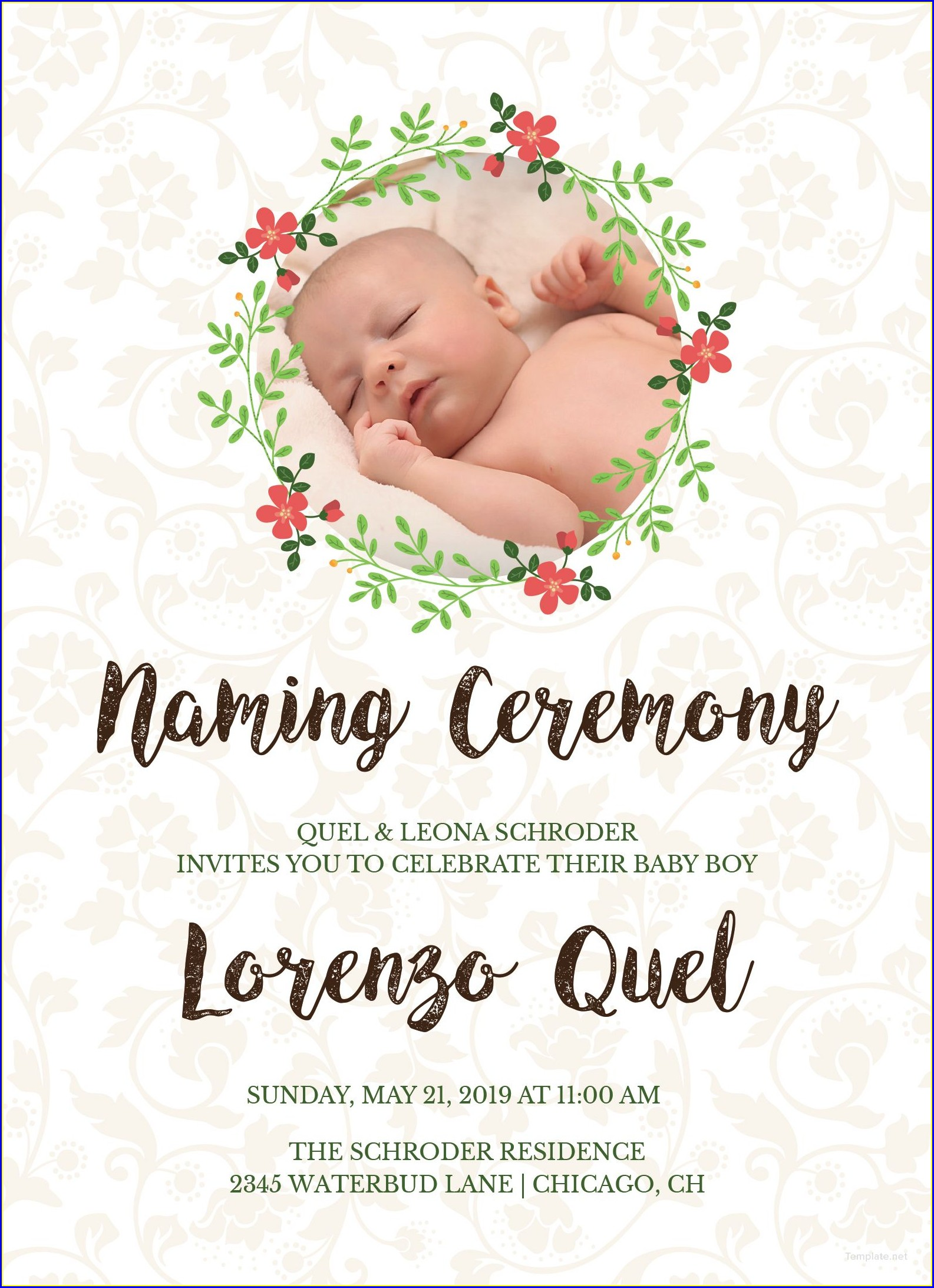 Baby Boy Naming Ceremony Invitation Indian