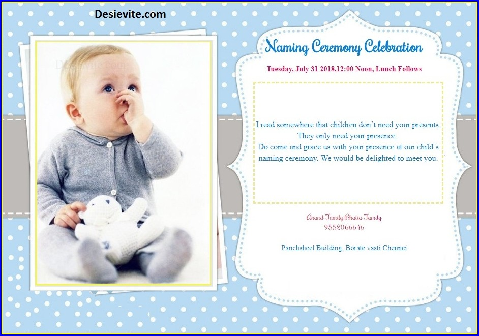 Baby Boy Naming Ceremony Invitation Wordings