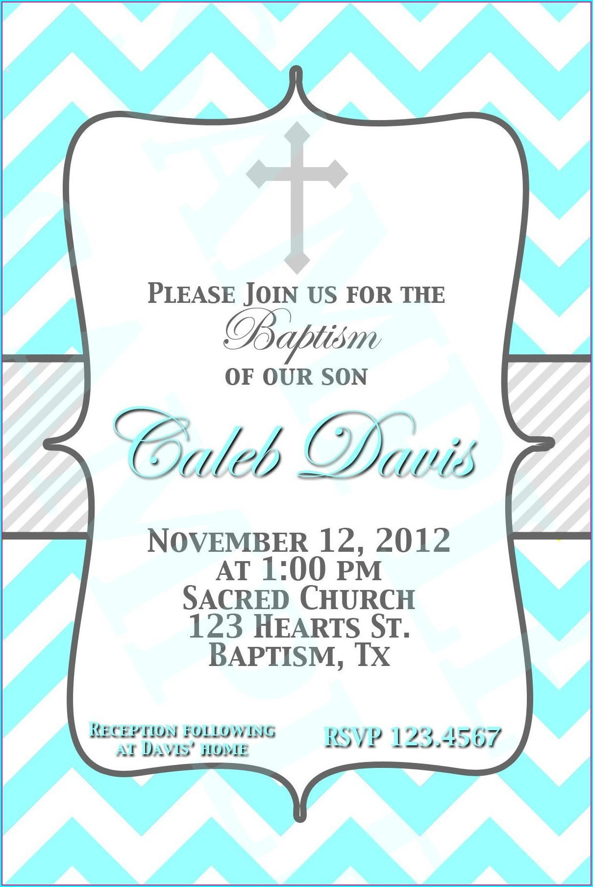Baby Boy Printable Baptism Invitation