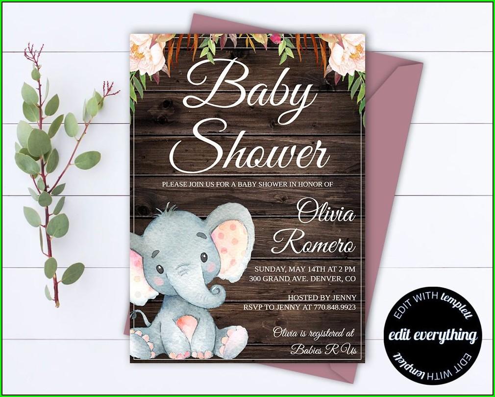 Baby Elephant Invitation Template