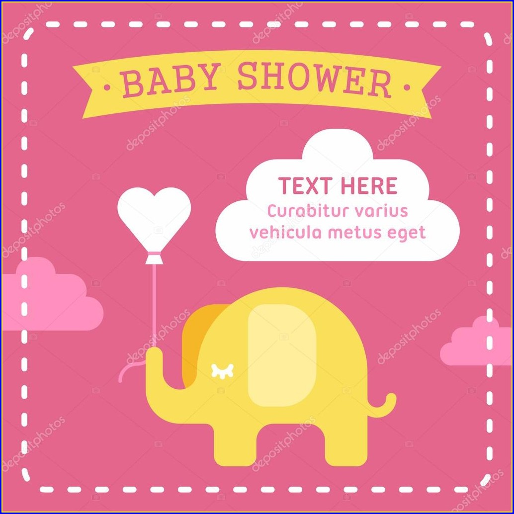 Baby Elephant Invitations Template