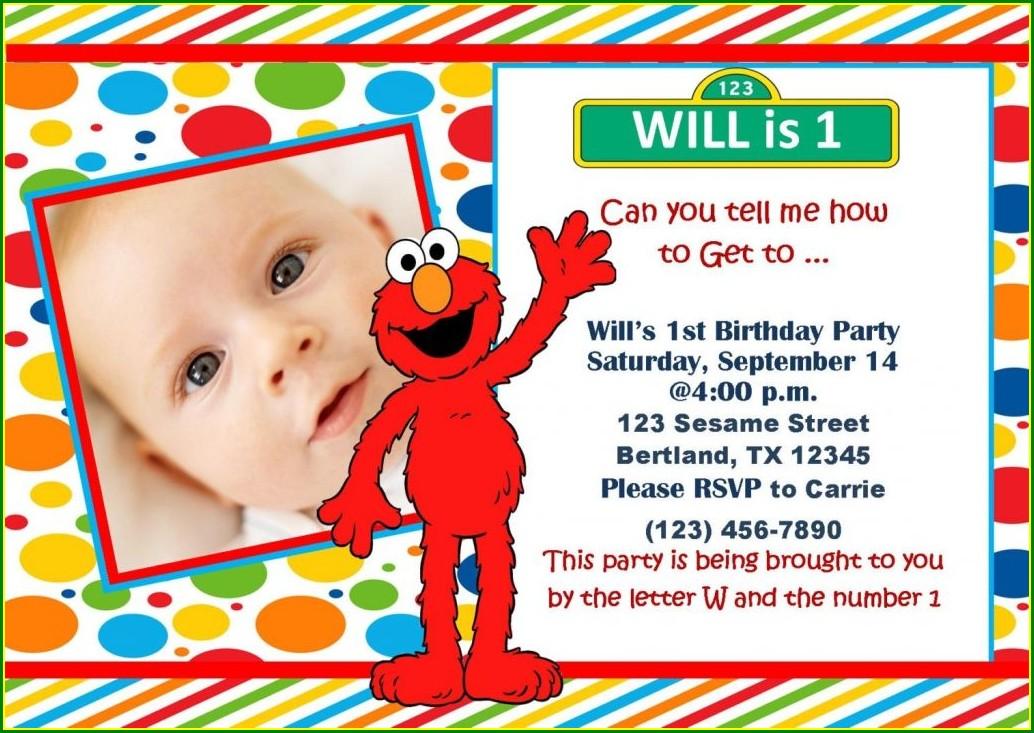 Baby Elmo 1st Birthday Invitations