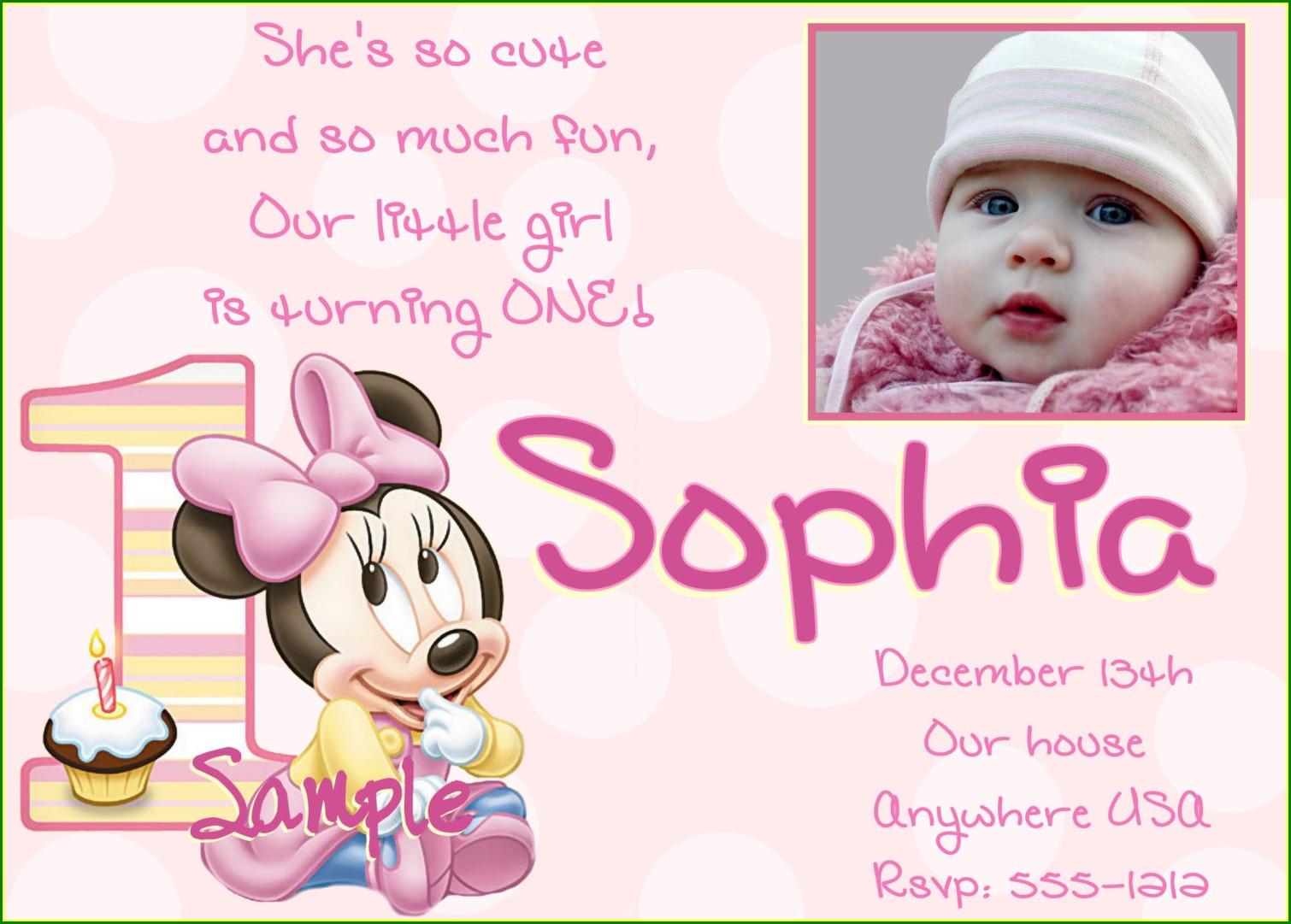 Baby Girl 1st Birthday Invitation Card Design