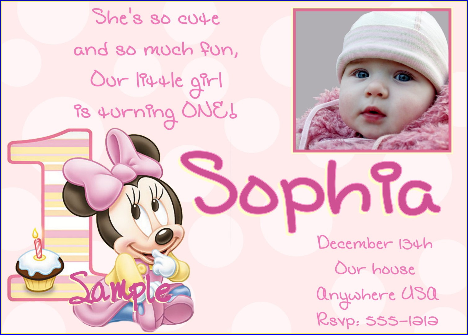 Baby Girl 1st Birthday Invitation Card Template
