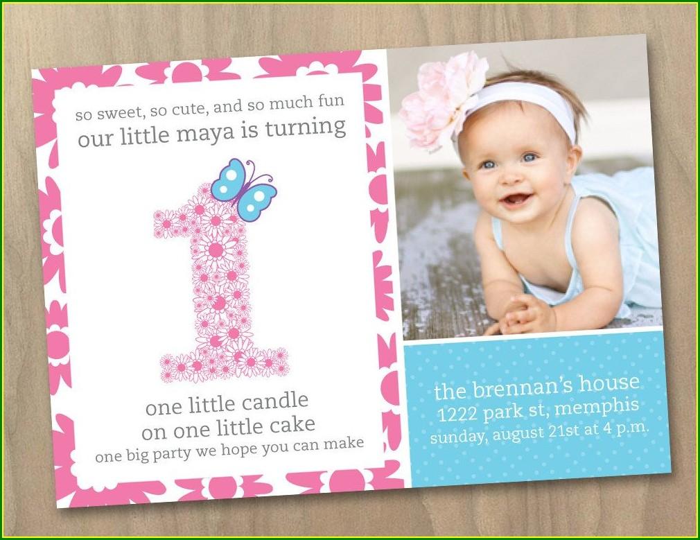 Baby Girl Birthday Invitation Card Quotes