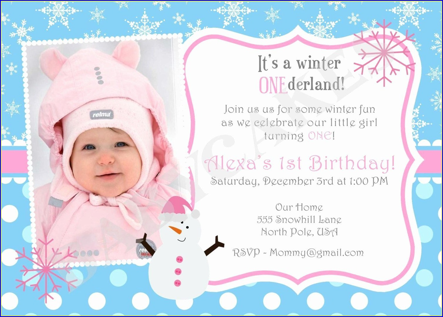 Baby Girl Birthday Invitation Cards
