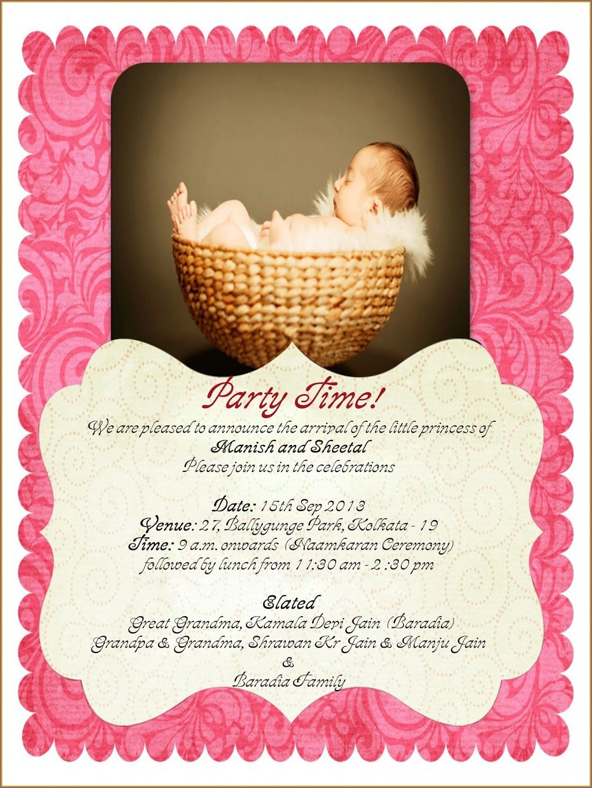Baby Girl Cradle Ceremony Invitation Card