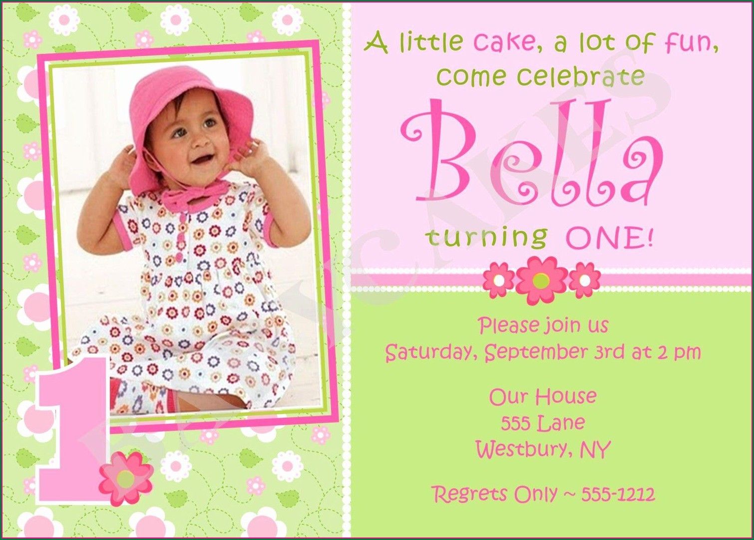 Baby Girl First Birthday 1st Birthday Invitation Card