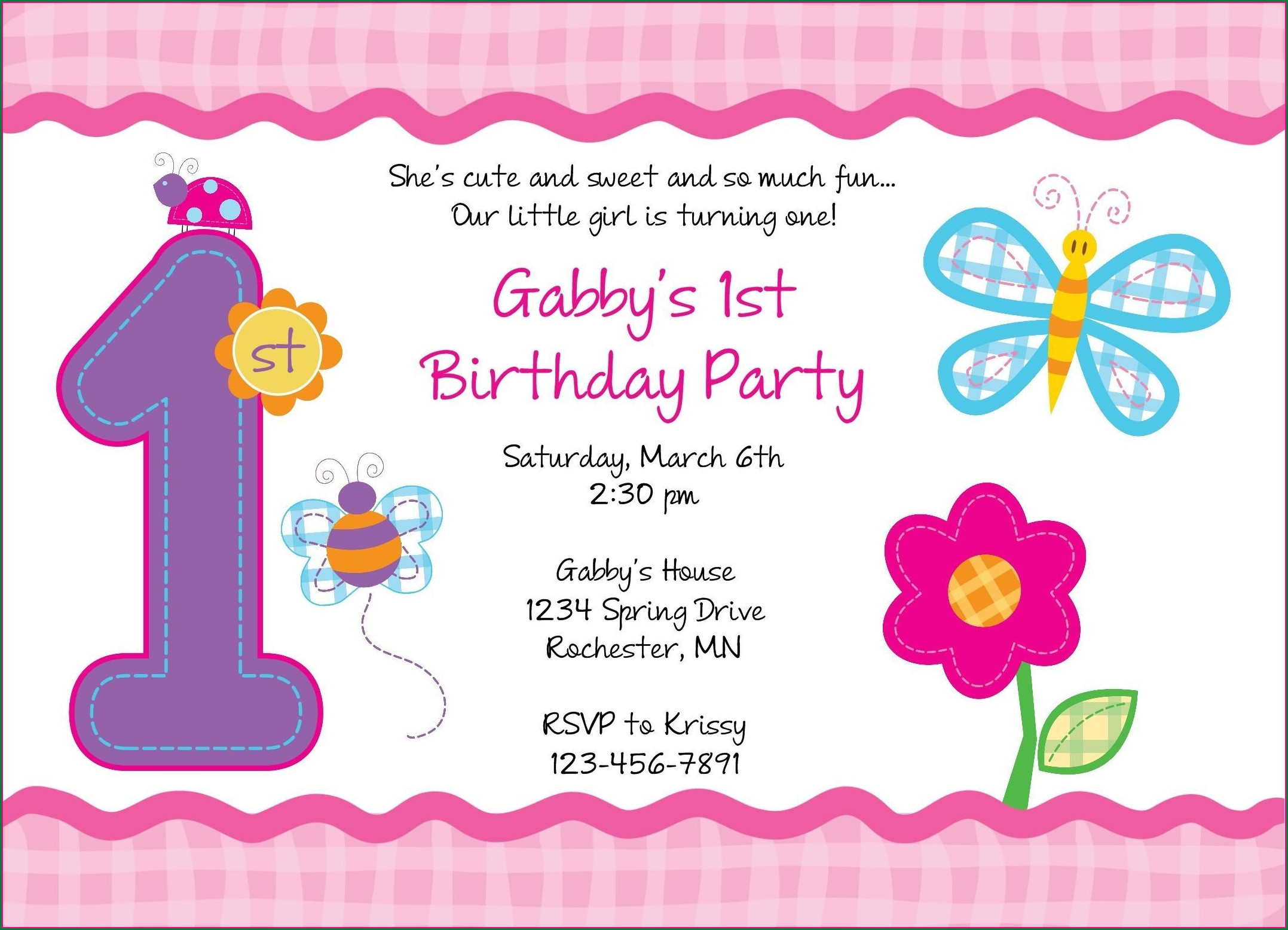 Baby Girl First Birthday Invitation Matter