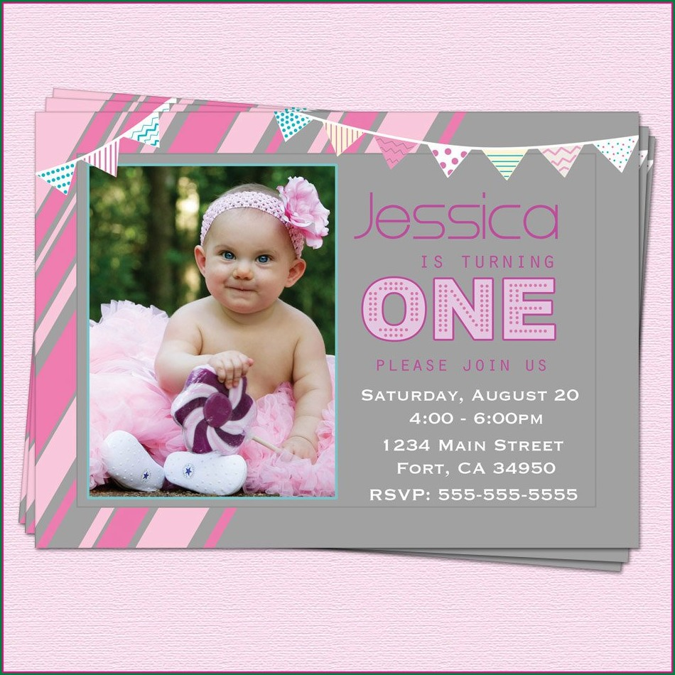 Baby Girl First Birthday Invitation Wordings