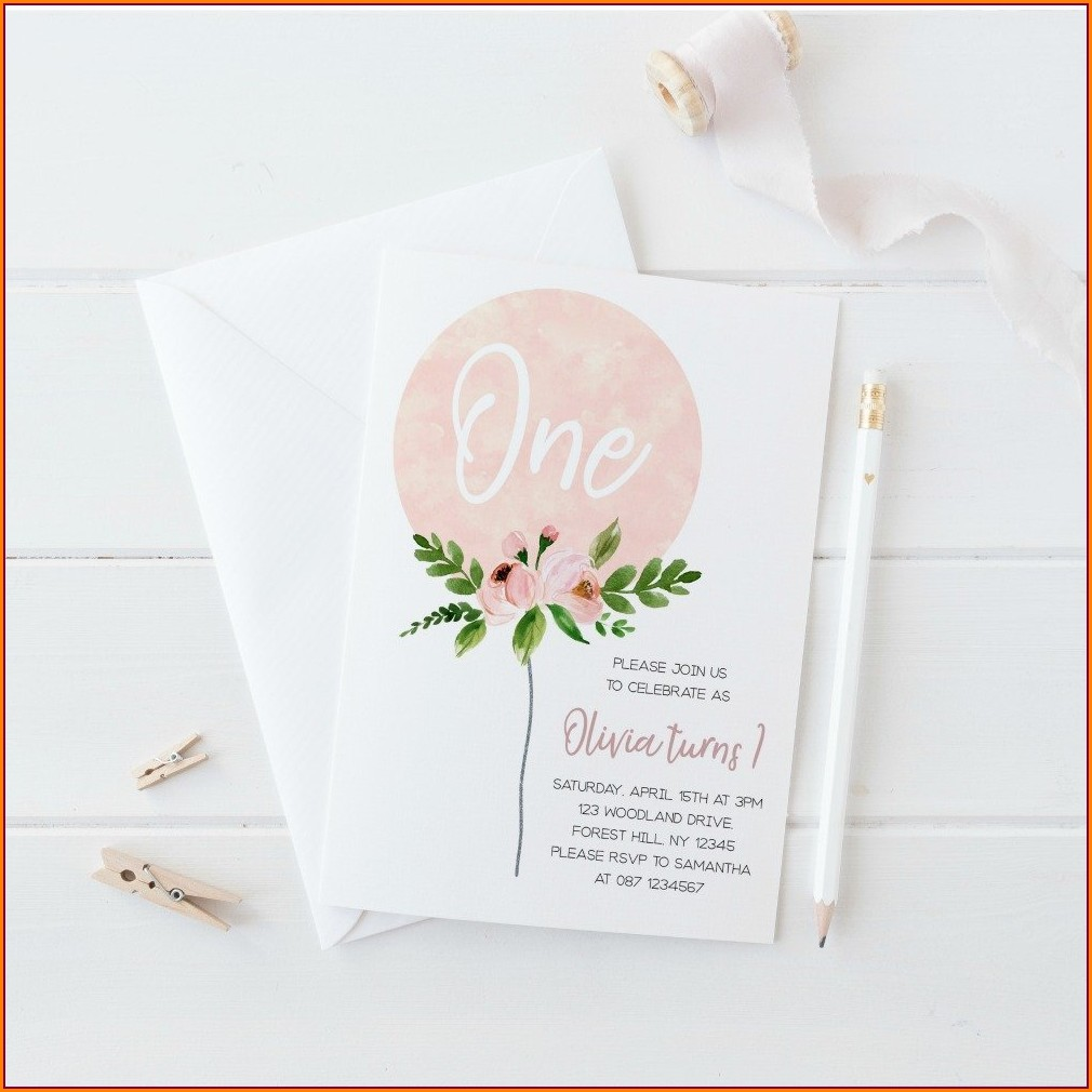 Baby Girl First Birthday Invitation