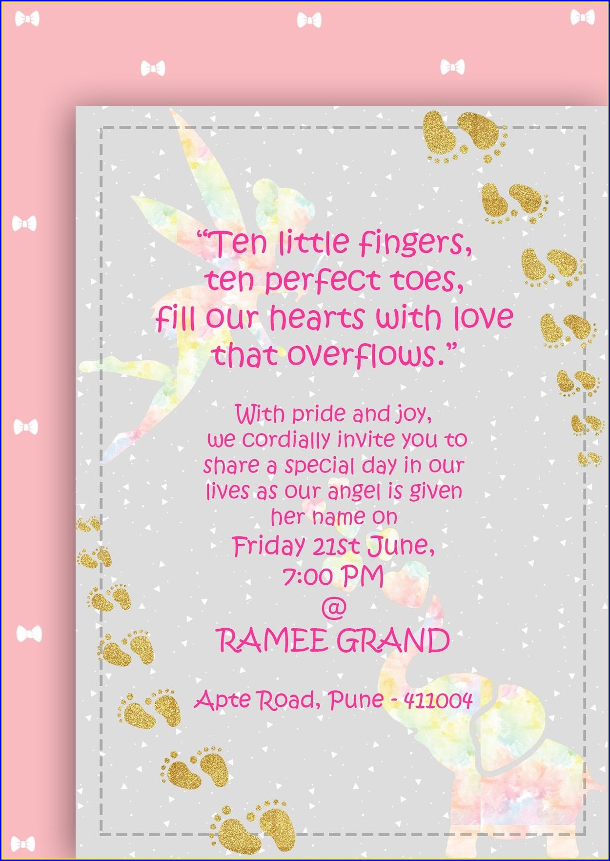 Baby Girl Hindu Naming Ceremony Invitation Wording