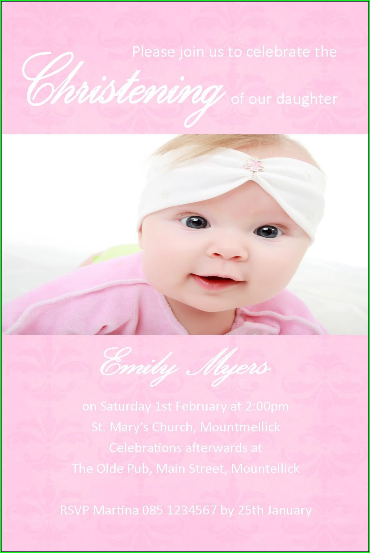 Baby Girl Invitations For Christening