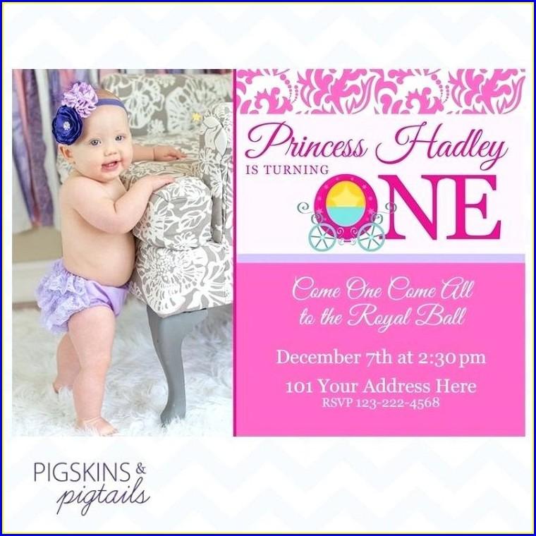 Baby Girl Princess 1st Birthday Invitation Wording