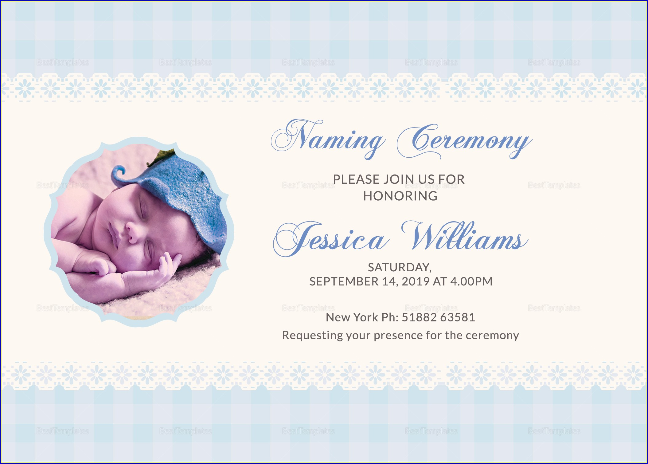 Baby Naming Ceremony Invitation Card Design