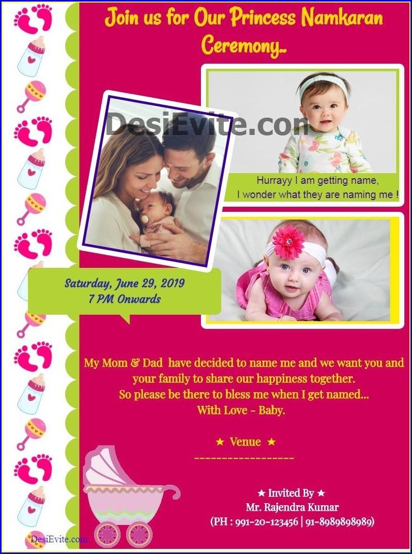Baby Naming Invitation Card Maker