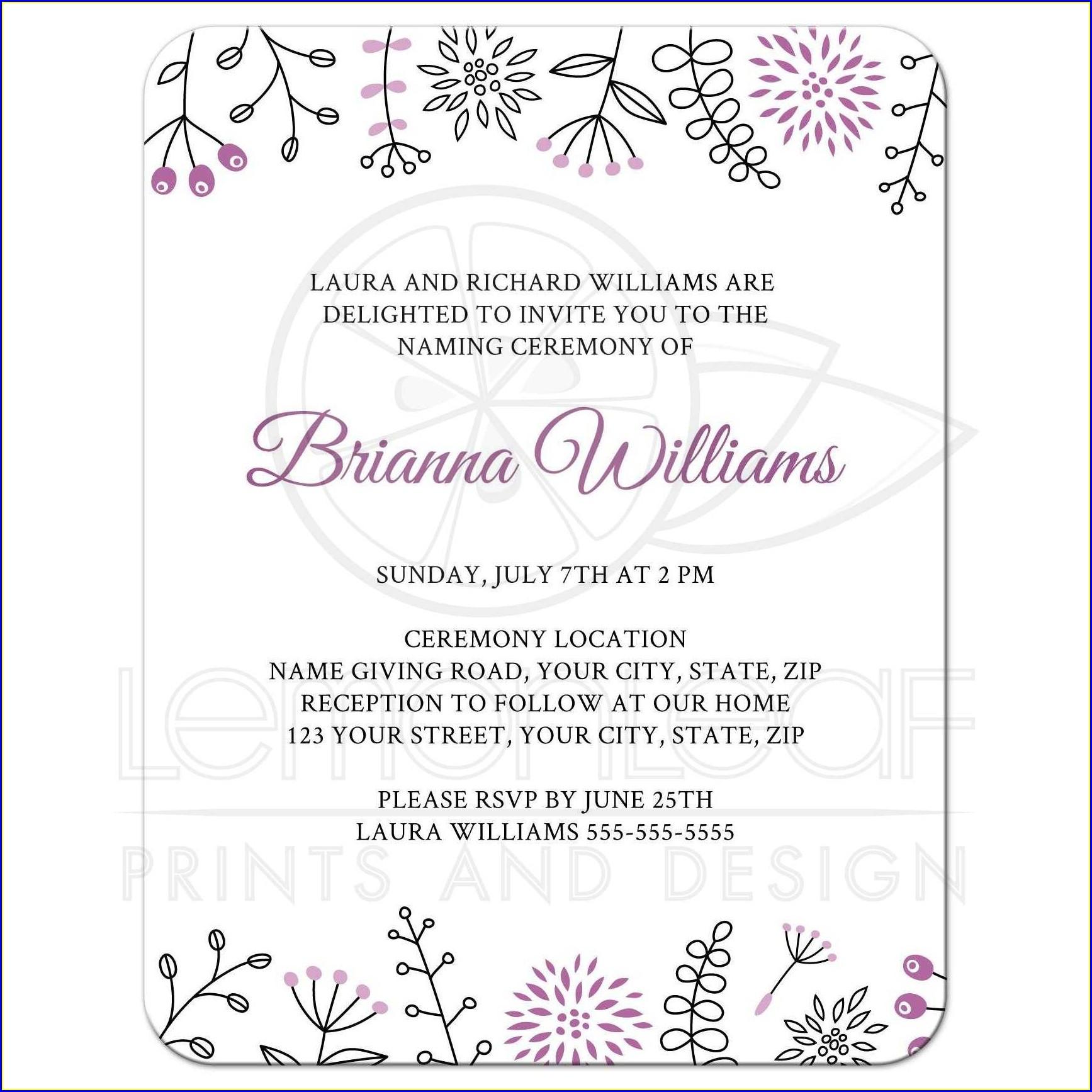 Baby Naming Invitation Wording