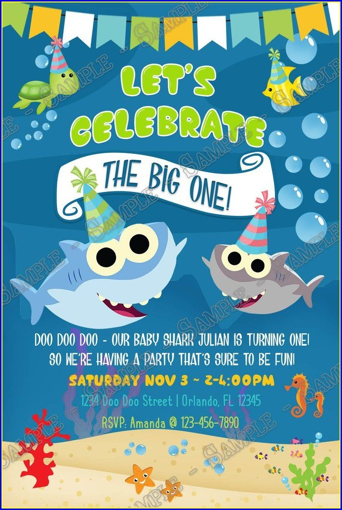 Baby Shark 1st Birthday Invitation Template