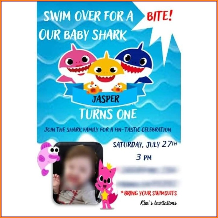 Baby Shark 1st Birthday Invitations