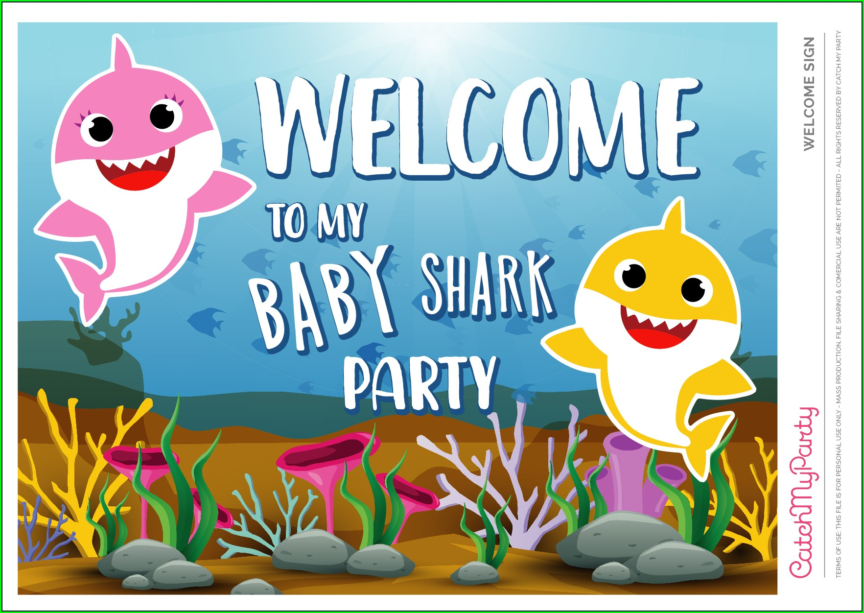 Baby Shark Birthday Invitation Blank