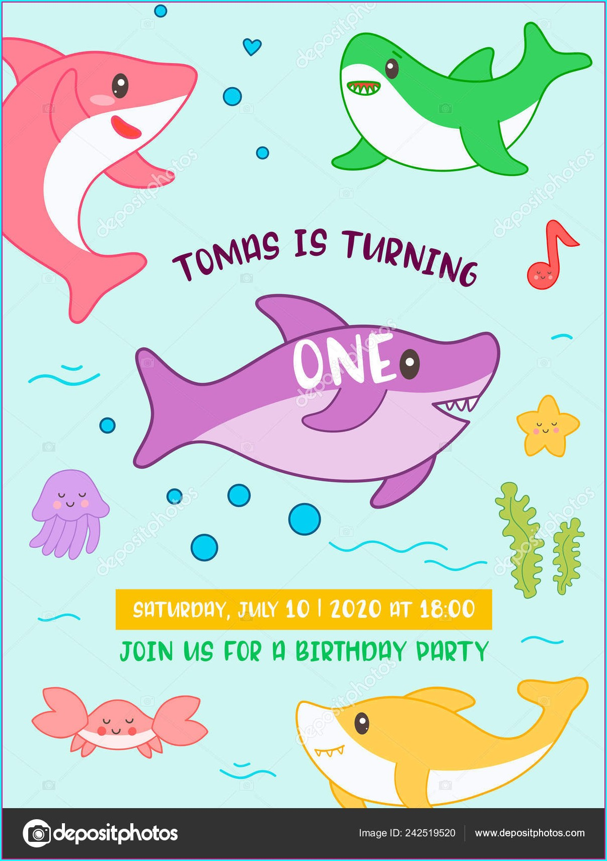Baby Shark Birthday Invitation Card Template