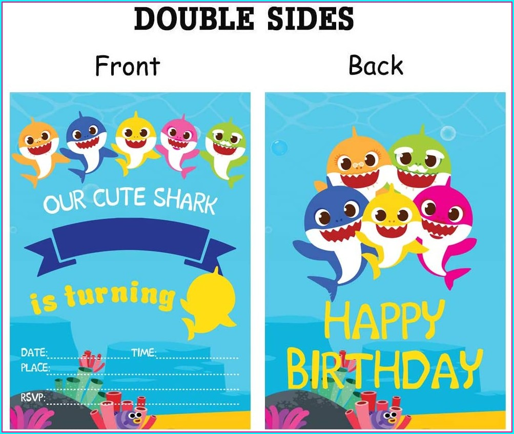 Baby Shark Birthday Invitation Card