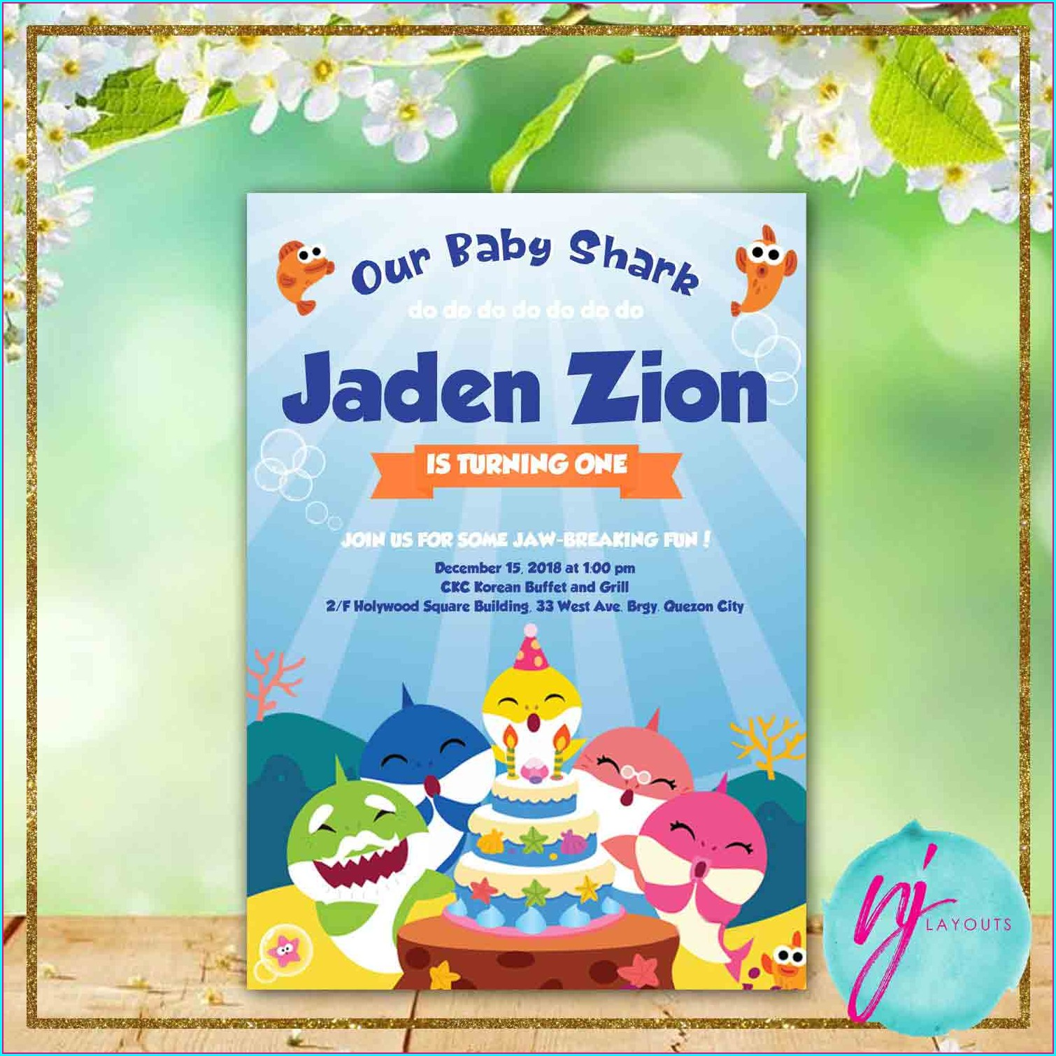 Baby Shark Birthday Invitation Layout