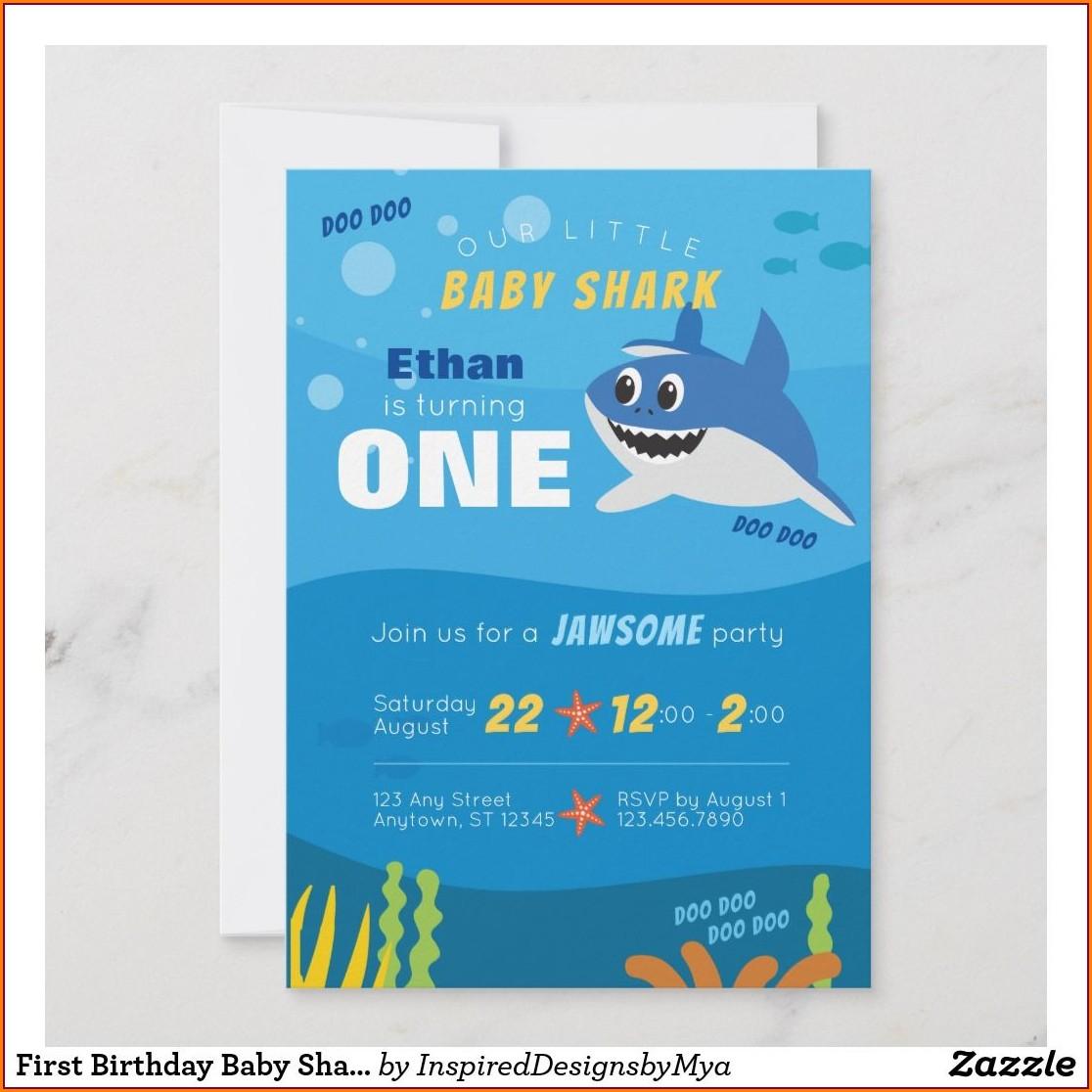 Baby Shark First Birthday Invitations