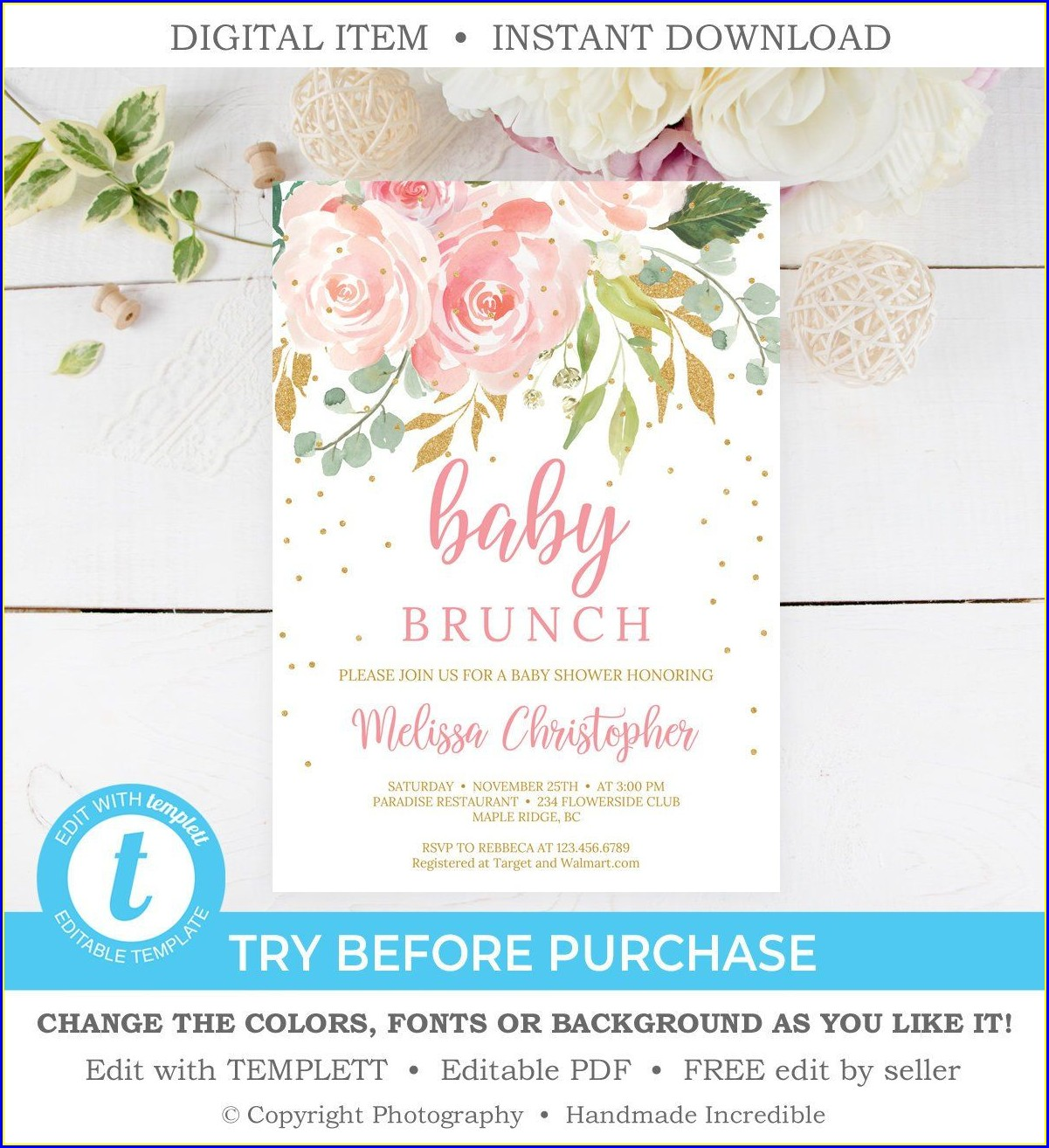 Baby Shower Brunch Invitation Template