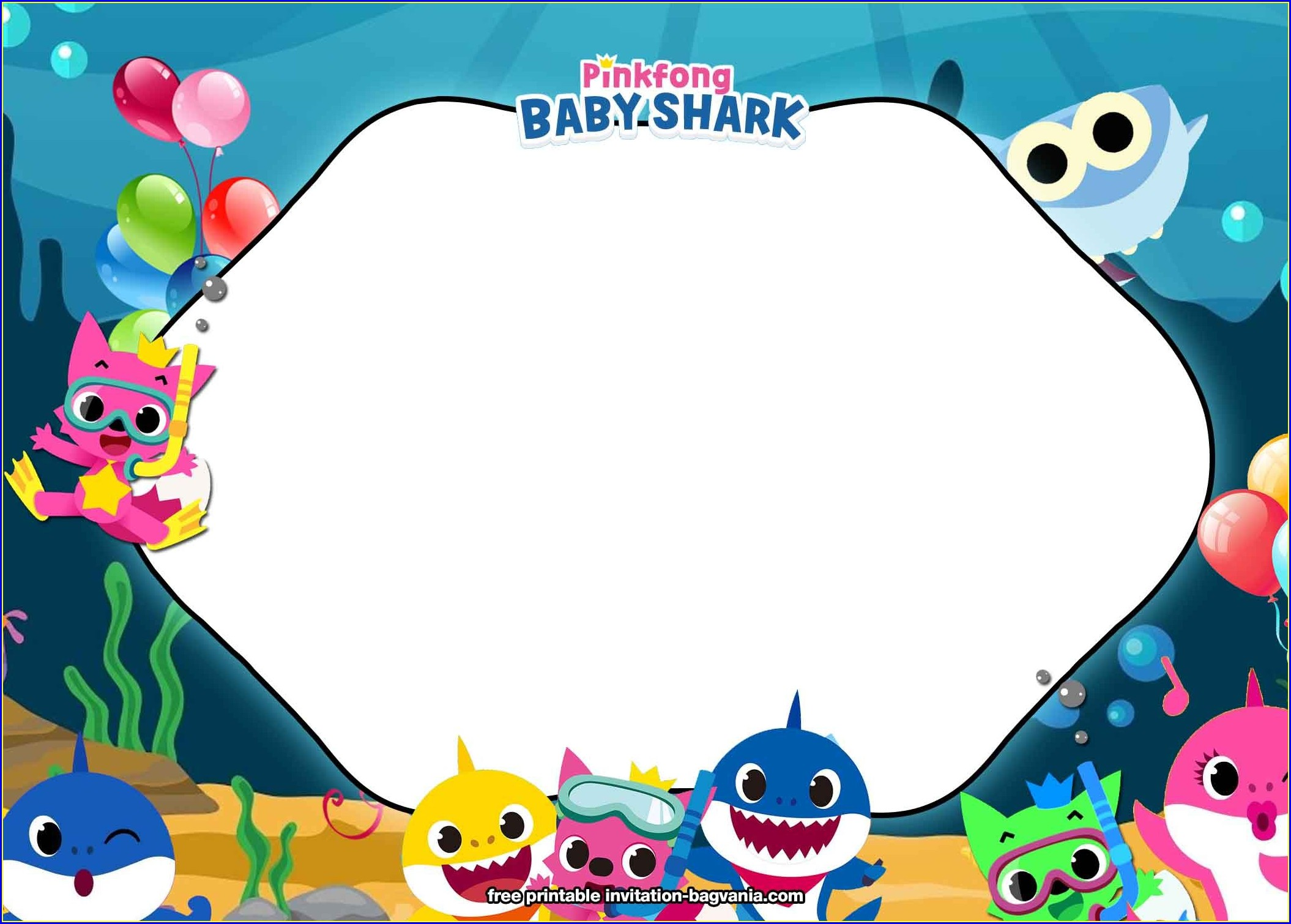 Background Baby Shark Invitation Template
