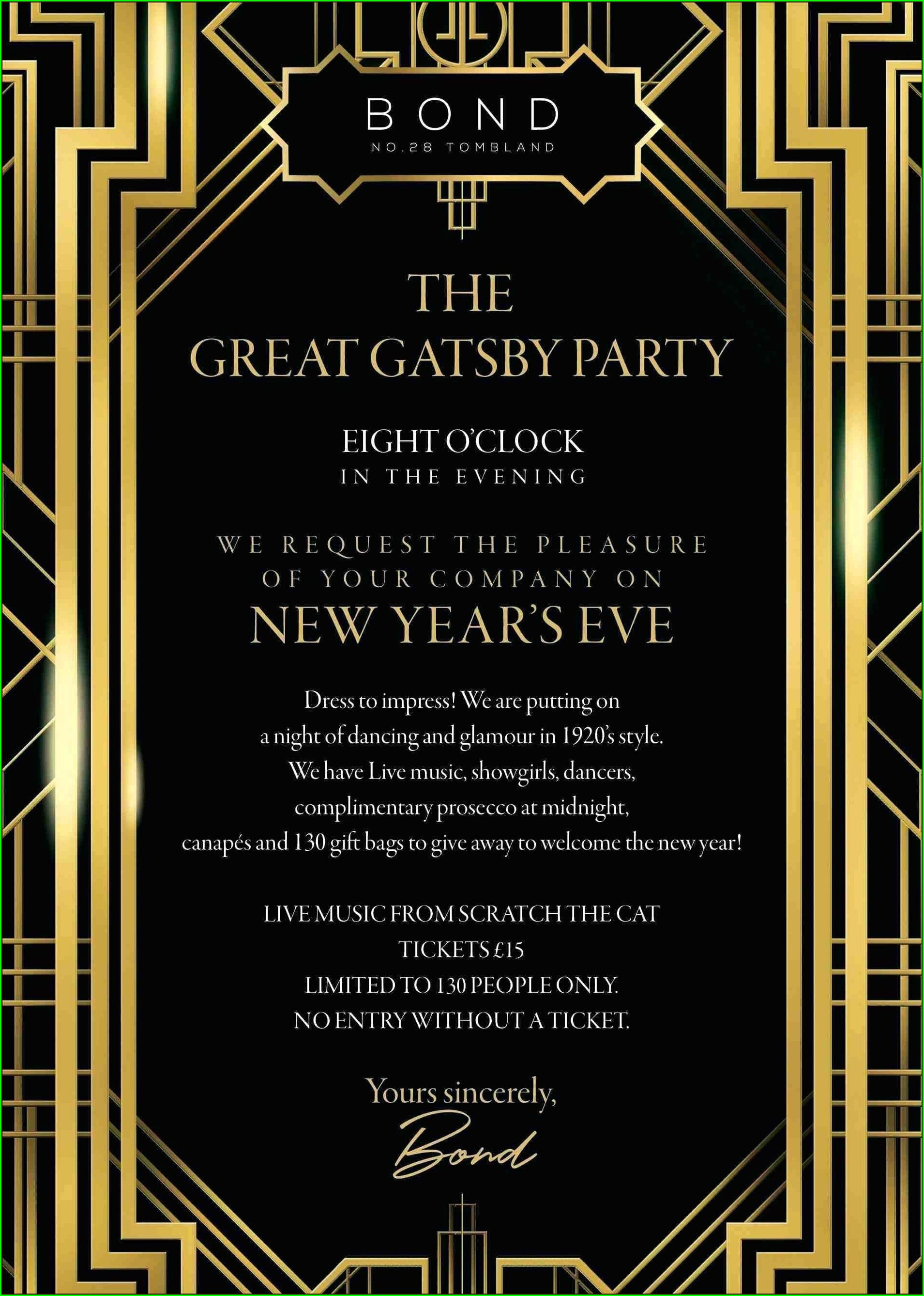 Background Blank Great Gatsby Invitation Template