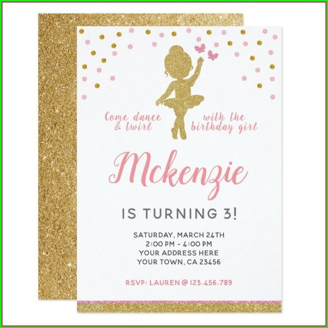 Ballerina First Birthday Invitations