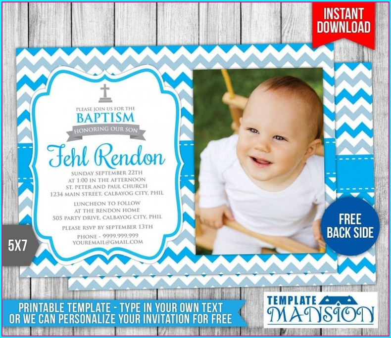 Baptism Invitation Background For Boy