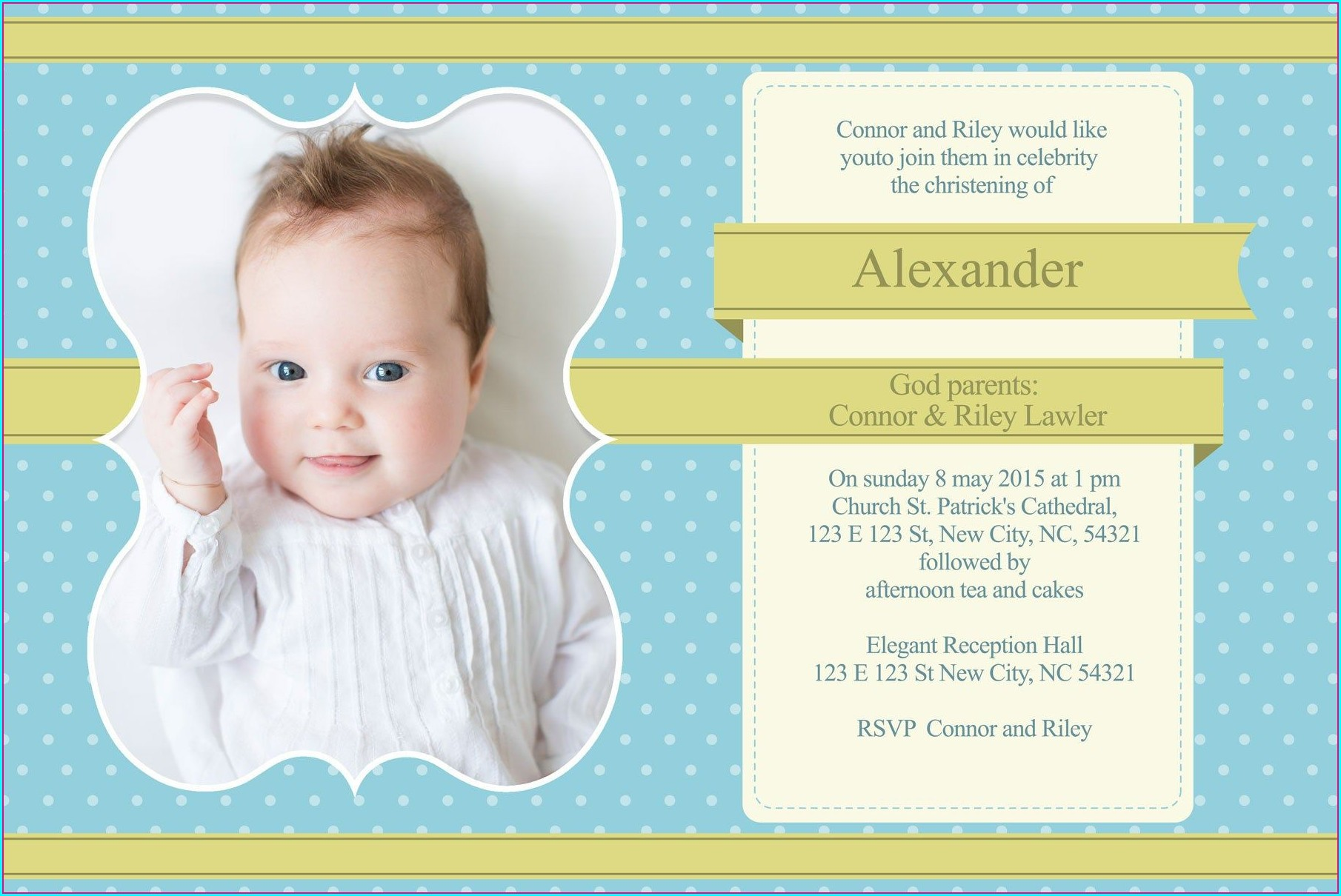 Baptism Invitation Boy Template