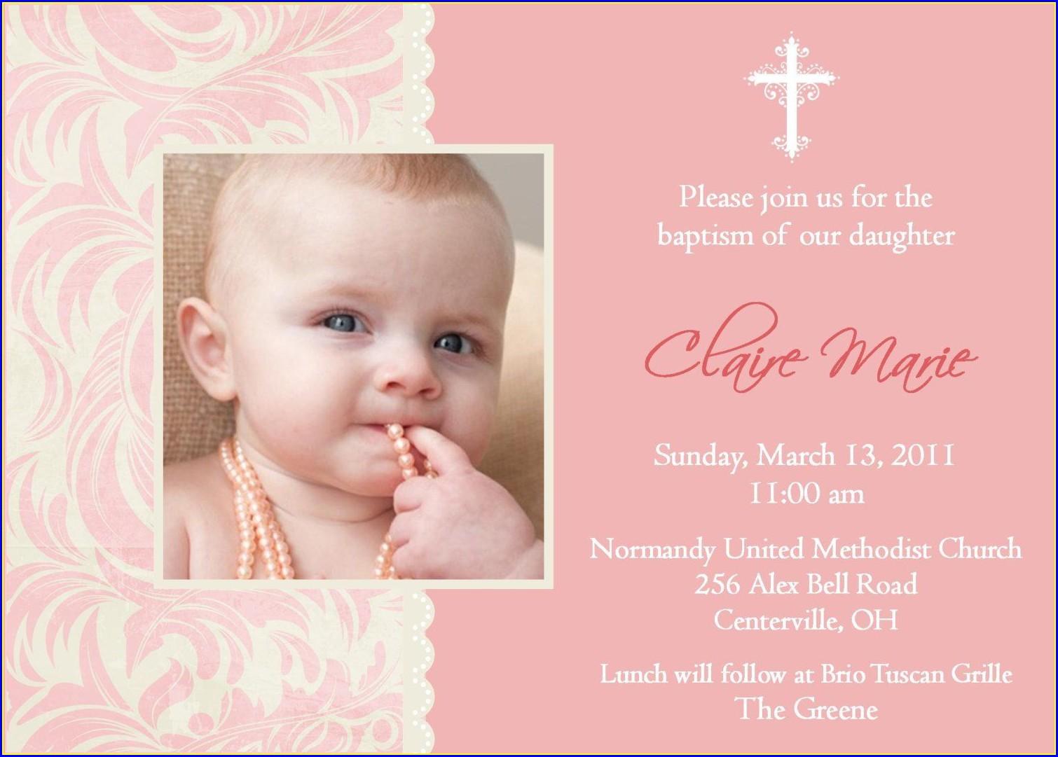 Baptismal Invitation Card Sample