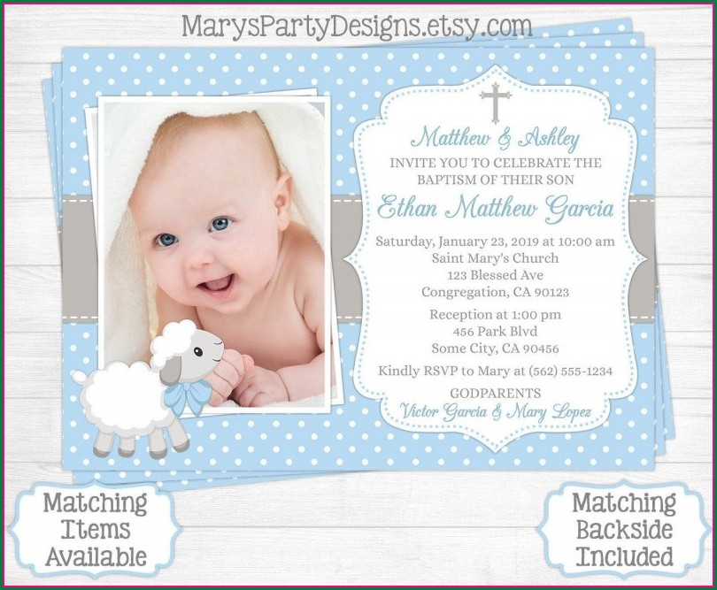 Baptismal Invitation For Baby Boy Template