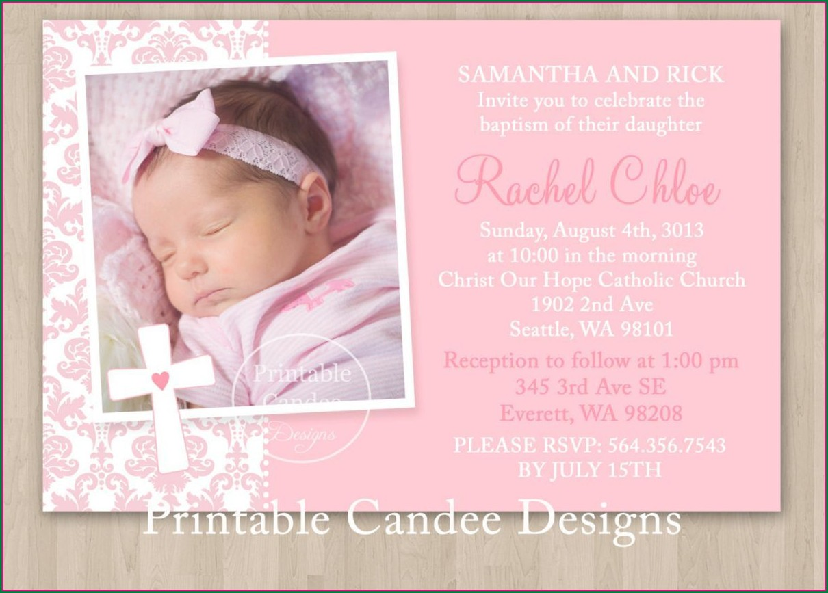 Baptismal Invitation For Baby Girl Layout