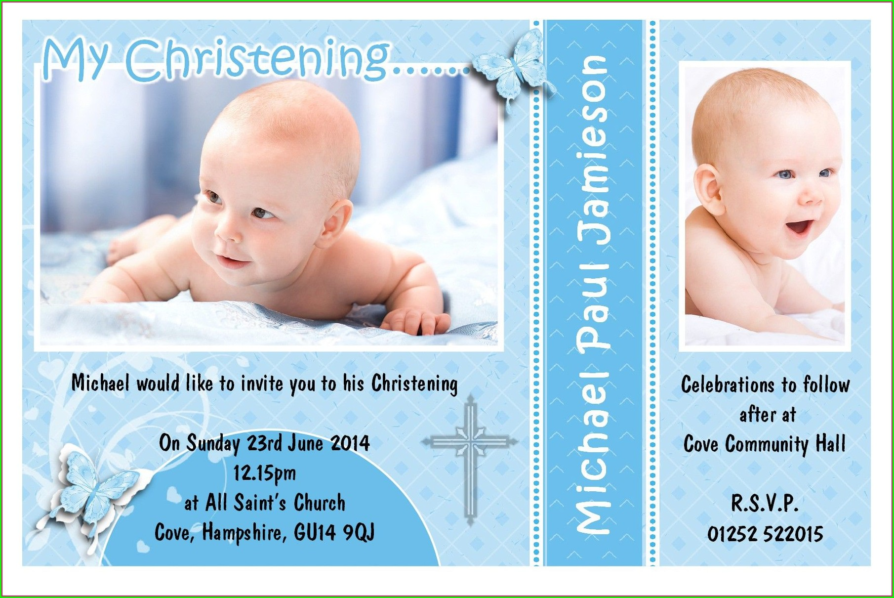Baptismal Invitation Layout For Boy