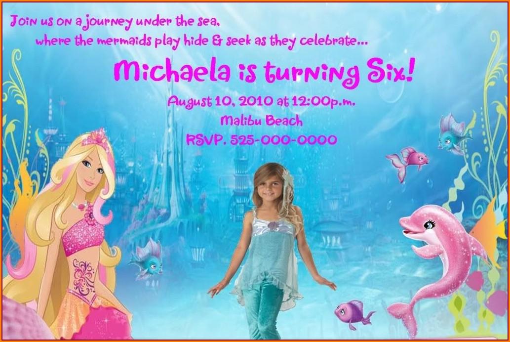 Barbie Mermaid Birthday Invitations