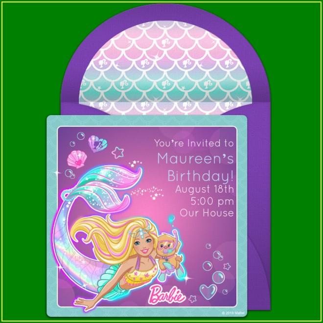 Barbie Mermaid Invitations Free