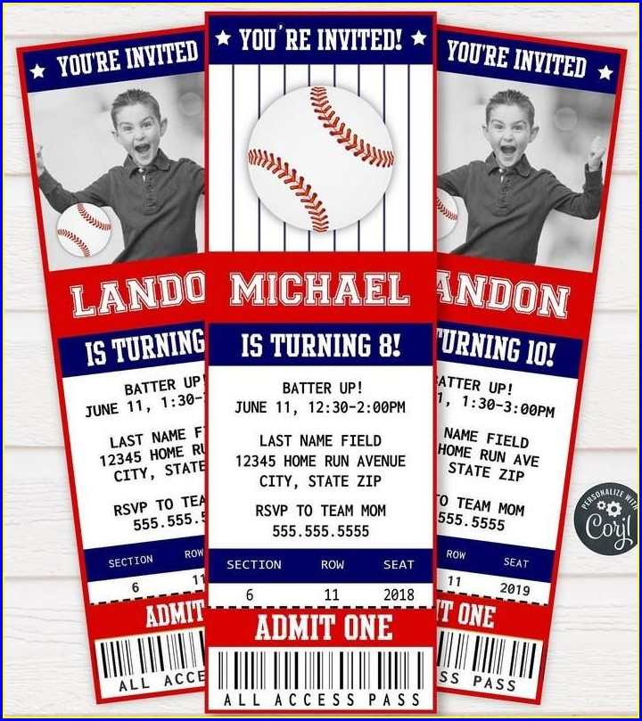 Baseball Invitation Template Free