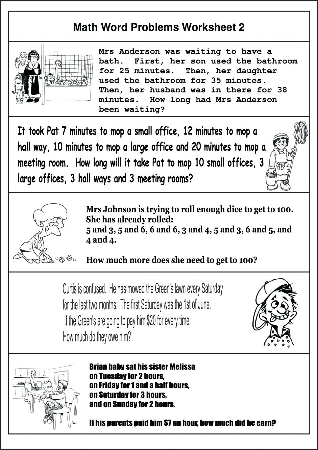 Baseball Math Word Problems Worksheets