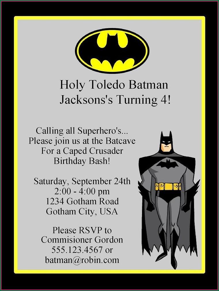 Batman Birthday Invitation Template