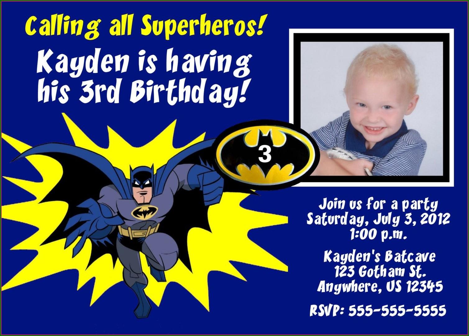 Batman Invitation Card Layout