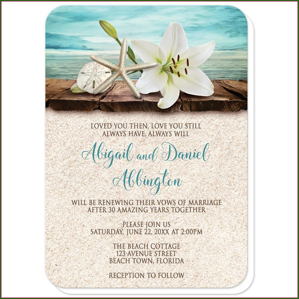 Beach Vow Renewal Invitations
